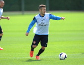 Jack Wilshere of Arsenal during a training session at London Colney on May 10 2014 in St Albans England