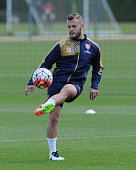 Jack Wilshere of Arsenal during a training session at London Colney on April 23 2016 in St Albans England