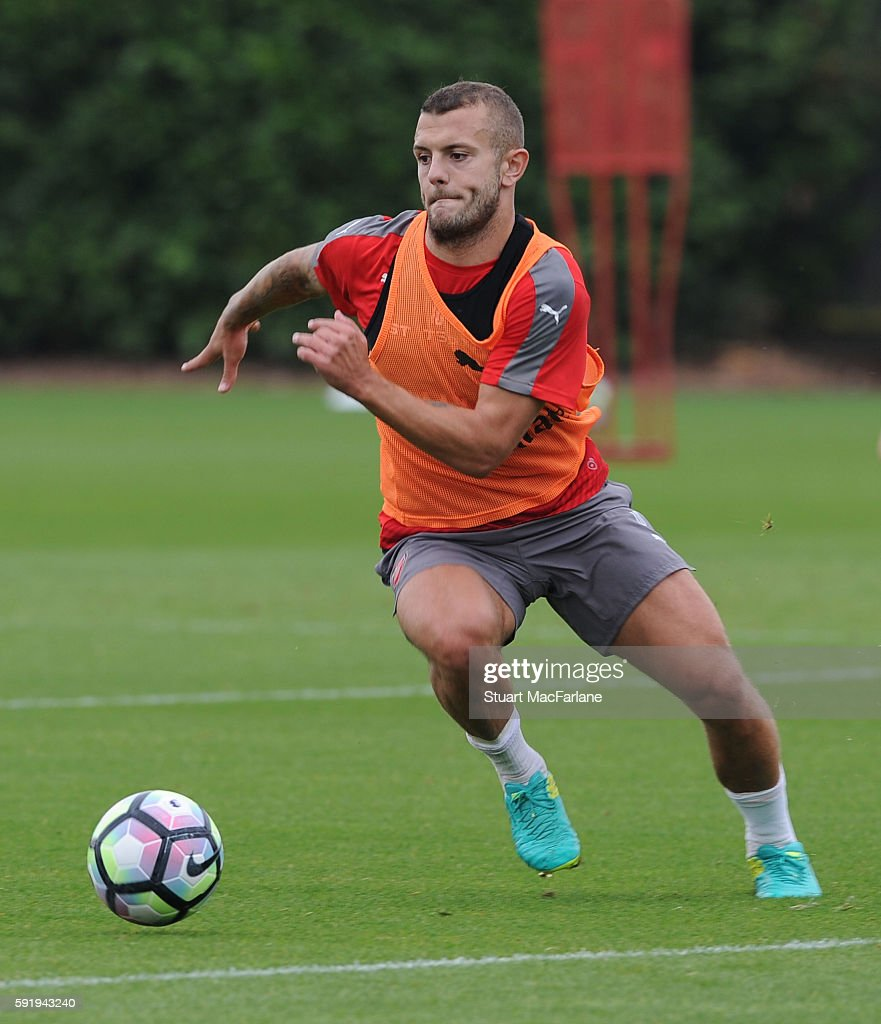 Jack Wilshere of Arsenal during a training session at London Colney on August 19 2016 in St Albans England
