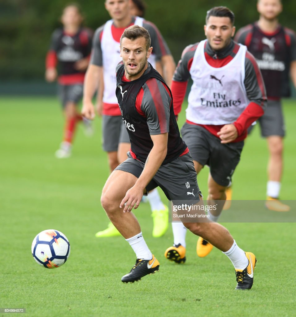Jack Wilshere of Arsenal during a training session at London Colney on August 18, 2017 in St Albans, England.