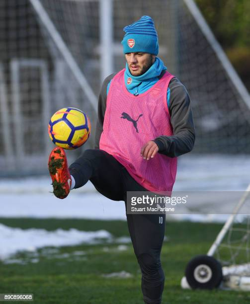 Jack Wilshere of Arsenal during a training session at London Colney on December 12 2017 in St Albans England