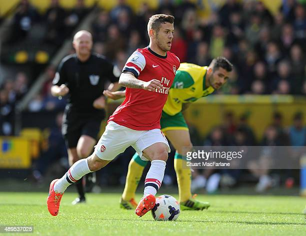 Jack Wilshere of Arsenal during the Barclays Premier League match between Norwich City and Arsenal at Carrow Road on May 11 2014 in Norwich England
