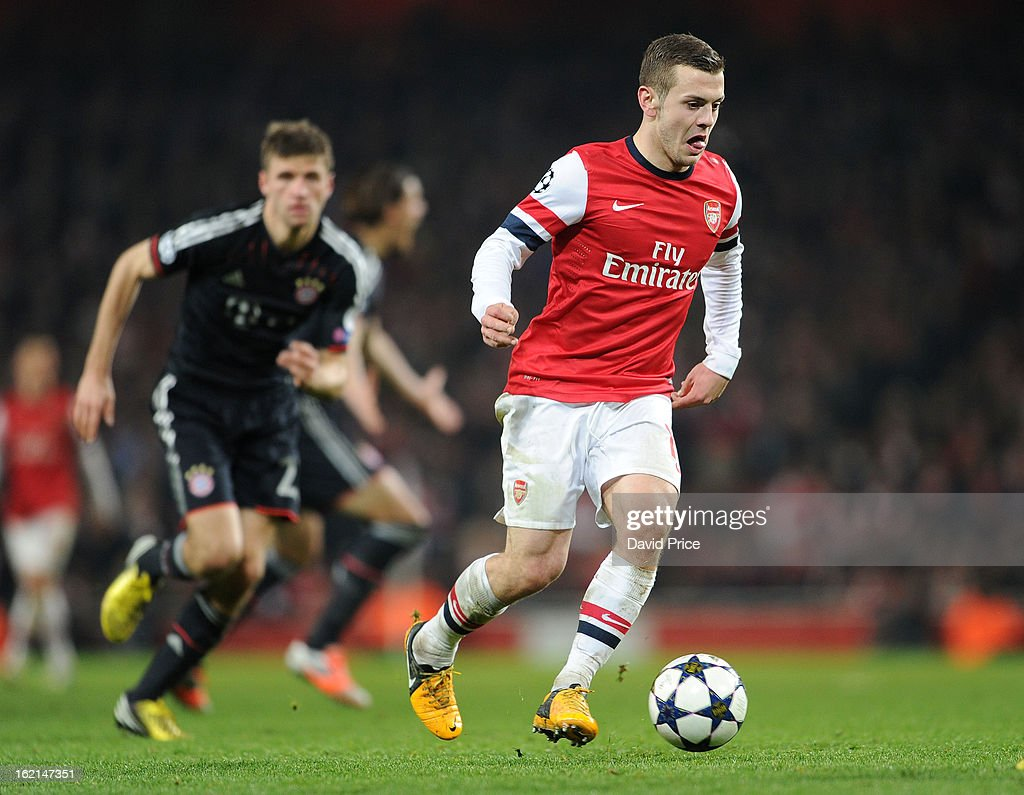 <a gi-track='captionPersonalityLinkClicked' href=/galleries/search?phrase=Jack+Wilshere&family=editorial&specificpeople=5446655 ng-click='$event.stopPropagation()'>Jack Wilshere</a> of Arsenal during the UEFA Champions League Round of 16 first leg match between Arsenal FC and Bayern Muenchen at Emirates Stadium on February 19, 2013 in London, England.