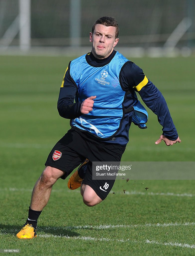 Jack Wilshere of Arsenal in action during a training session ahead of their UEFA Champions League match against FC Bayern Muenchen at London Colney on February 18, 2013 in St Albans, England.