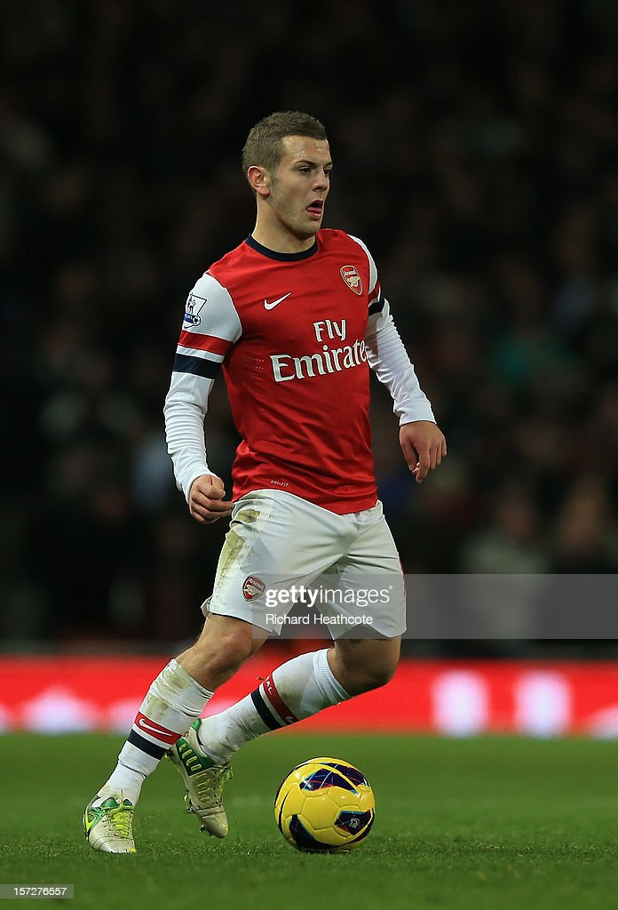 <a gi-track='captionPersonalityLinkClicked' href=/galleries/search?phrase=Jack+Wilshere&family=editorial&specificpeople=5446655 ng-click='$event.stopPropagation()'>Jack Wilshere</a> of Arsenal in action during the Barclays Premier League match between Arsenal and Swansea City at the Emirates Stadium on December 1, 2012 in London, England.