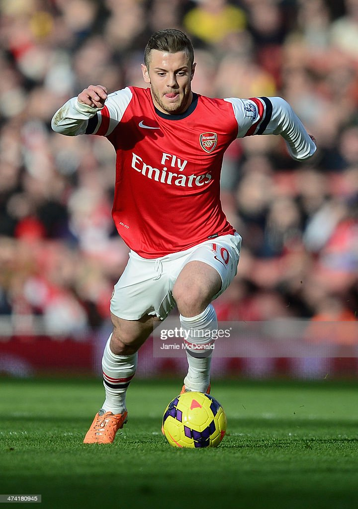 Jack Wilshere of Arsenal in action during the Barclays Premier League match between Arsenal and Sunderland at Emirates Stadium on February 22, 2014 in London, England.