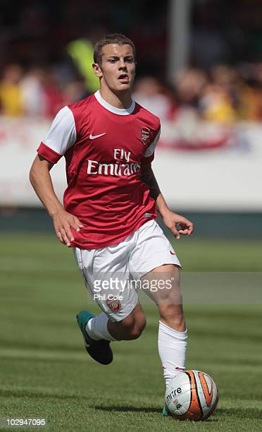 Jack Wilshere of Arsenal in action during the preseason friendly match between Barnet and Arsenal at Underhill on July 17 2010 in London England