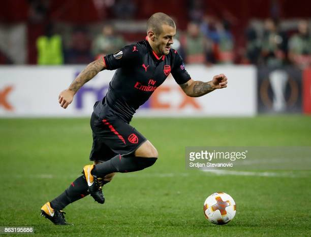 Jack Wilshere of Arsenal in action during the UEFA Europa League group H match between Crvena Zvezda and Arsenal FC at Rajko Mitic Stadium on October...