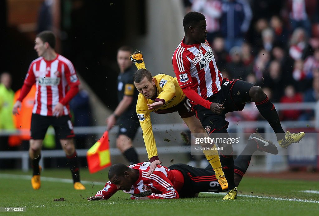 Jack Wilshere of Arsenal is injured from a challenge with Titus Bramble of Sunderland during the Barclays Premier League match between Sunderland and Arsenal at the Stadium of Light on February 9, 2013 in Sunderland, England.