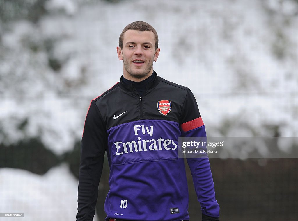 <a gi-track='captionPersonalityLinkClicked' href=/galleries/search?phrase=Jack+Wilshere&family=editorial&specificpeople=5446655 ng-click='$event.stopPropagation()'>Jack Wilshere</a> of Arsenal looks on during a training session at London Colney on January 22, 2013 in St Albans, England.