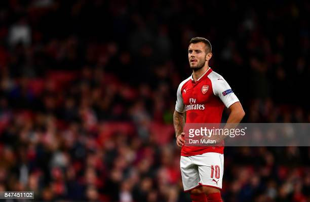 Jack Wilshere of Arsenal looks on during the UEFA Europa League group H match between Arsenal FC and 1 FC Koeln at Emirates Stadium on September 14...