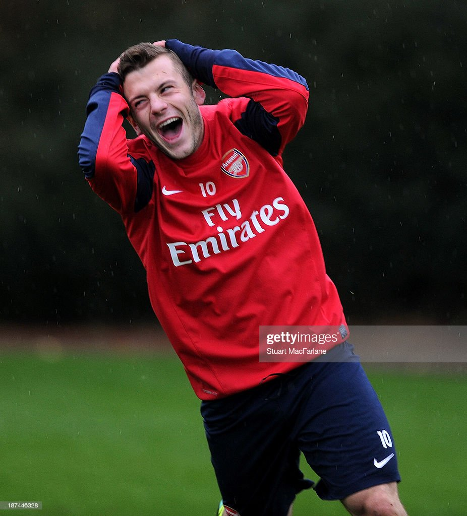 <a gi-track='captionPersonalityLinkClicked' href=/galleries/search?phrase=Jack+Wilshere&family=editorial&specificpeople=5446655 ng-click='$event.stopPropagation()'>Jack Wilshere</a> of Arsenal reacts during the Arsenal Training Session at London Colney on November 9, 2013 in St Albans, England.