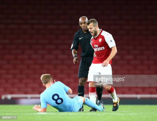Jack Wilshere of Arsenal Under 23s not happy with Matthew Smith of Manchester City Under 23S during Premier League 2 match between Arsenal Under 23s...