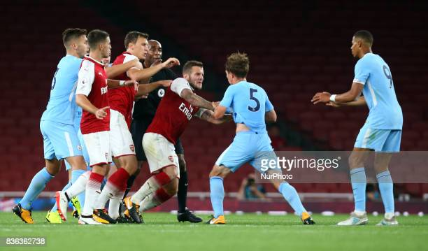 Jack Wilshere of Arsenal Under 23s not happy with Tyreke Wilson of Manchester City Under 23S during Premier League 2 match between Arsenal Under 23s...