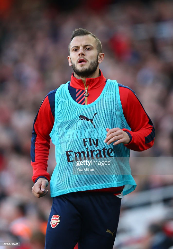 Jack Wilshere of Arsenal warms up during the Barclays Premier League match between Arsenal and Norwich City at The Emirates Stadium on April 30, 2016 in London, England