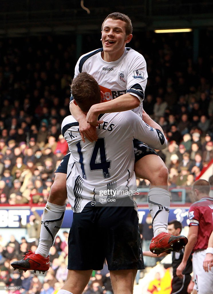 Jack Wilshere of Bolton Wanderers celabrates scoring his goal with Kevin Davies during the Barclays Premier League match between West Ham United and...