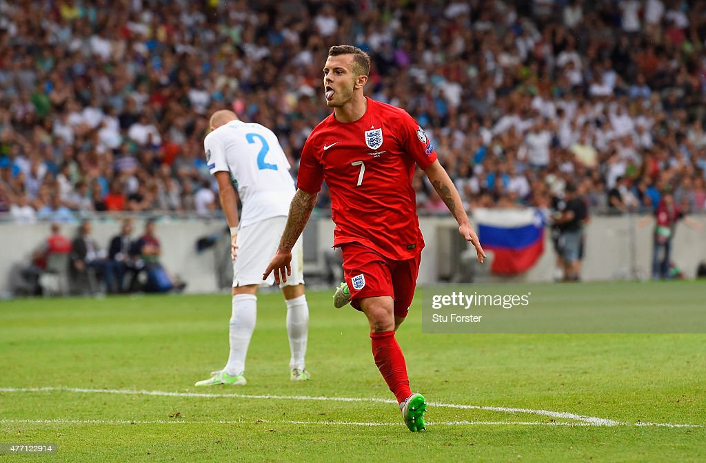 <a gi-track='captionPersonalityLinkClicked' href=/galleries/search?phrase=Jack+Wilshere&family=editorial&specificpeople=5446655 ng-click='$event.stopPropagation()'>Jack Wilshere</a> of England celebrates scoring their second goal during the UEFA EURO 2016 Qualifier between Slovenia and England on at the Stozice Arena on June 14, 2015 in Ljubljana, Slovenia.