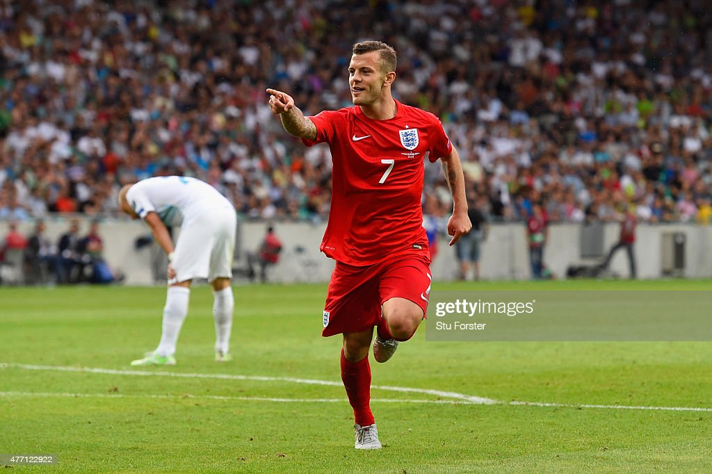 Jack Wilshere of England celebrates scoring their second goal during the UEFA EURO 2016 Qualifier between Slovenia and England on at the Stozice...