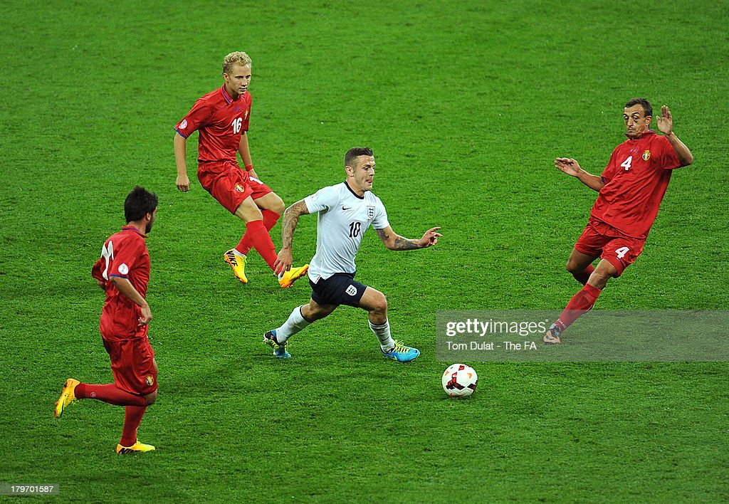 <a gi-track='captionPersonalityLinkClicked' href=/galleries/search?phrase=Jack+Wilshere&family=editorial&specificpeople=5446655 ng-click='$event.stopPropagation()'>Jack Wilshere</a> of England in action during the FIFA 2014 World Cup Qualifier match between England and Moldova at Wembley Stadium on September 6, 2013 in London, England.