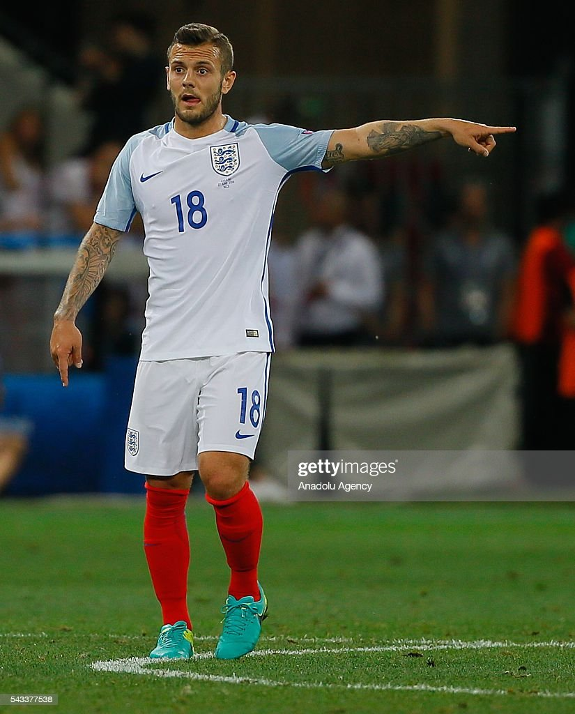 Jack Wilshere (18) of England in action during the UEFA Euro 2016 Round of 16 football match between Iceland and England at Stade de Nice in Nice, France on June 27, 2016.