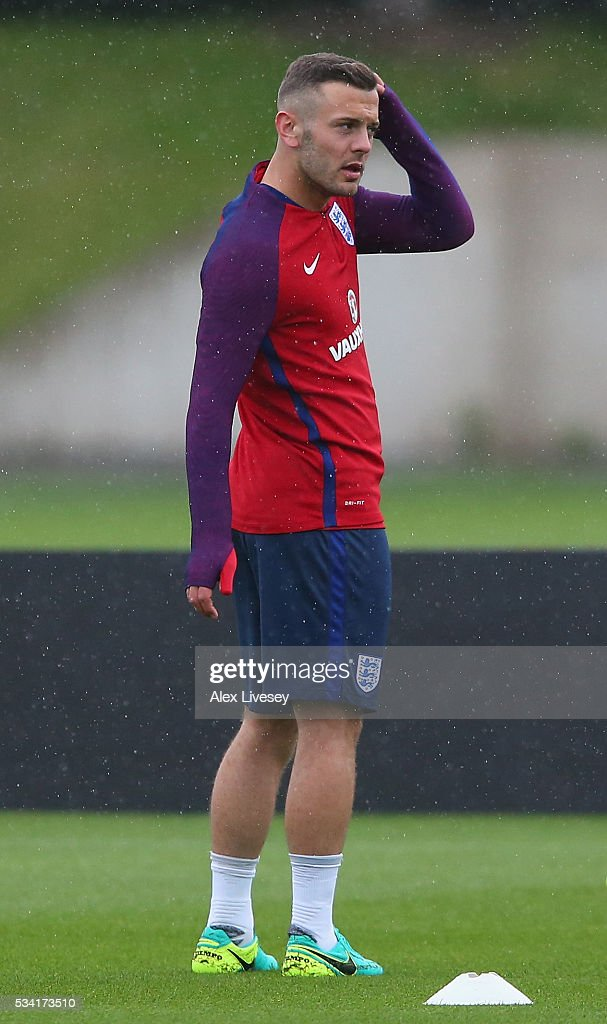 <a gi-track='captionPersonalityLinkClicked' href=/galleries/search?phrase=Jack+Wilshere&family=editorial&specificpeople=5446655 ng-click='$event.stopPropagation()'>Jack Wilshere</a> of England looks on during the England training session at Manchester City Football Academy on May 25, 2016 in Manchester, England.