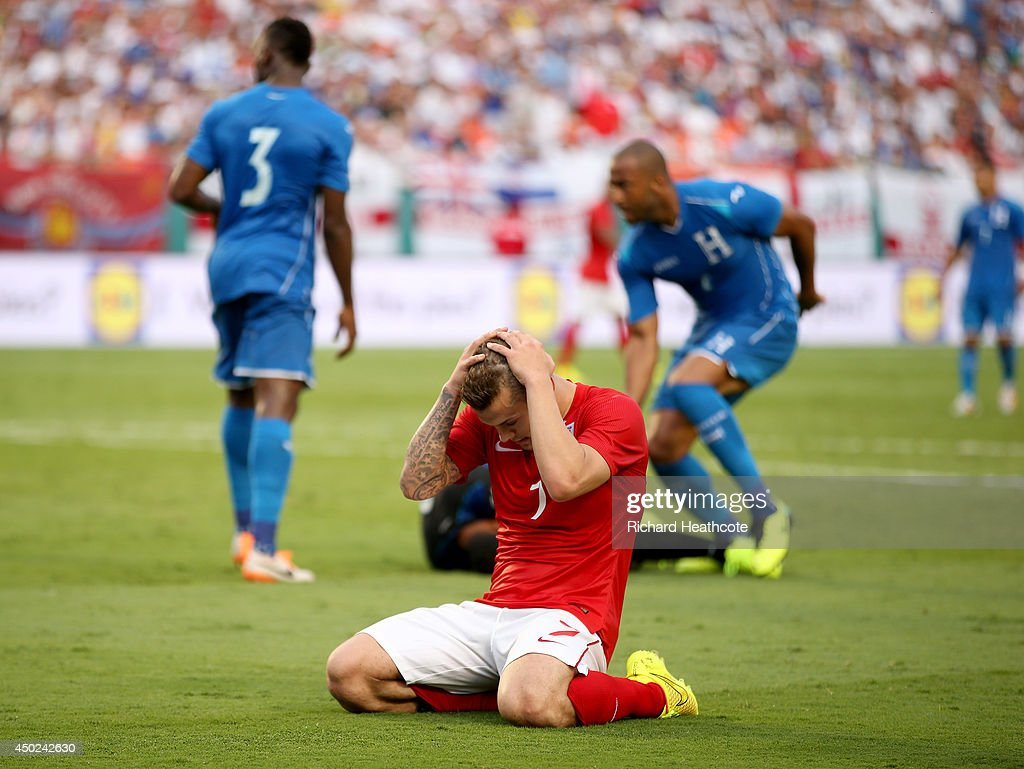 Jack Wilshere of England rues a missed chance during the International Friendly match between England and Honduras at the Sun Life Stadium on June 7, 2014 in Miami Gardens, Florida.