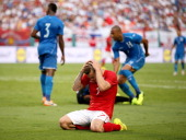 Jack Wilshere of England rues a missed chance during the International Friendly match between England and Honduras at the Sun Life Stadium on June 7...