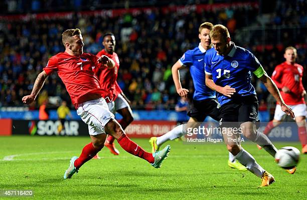 Jack Wilshere of England takes a shot on goal past Ragnar Klavan of Estonia during the EURO 2016 Qualifier match between Estonia and England at A Le...