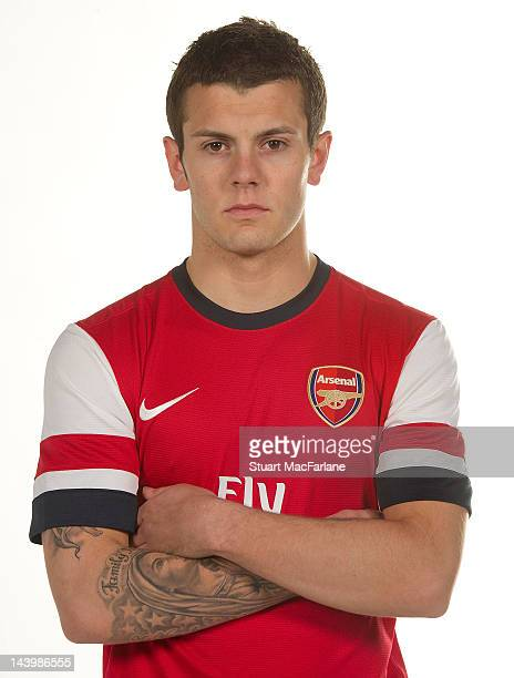 Jack Wilshere poses during a photoshoot for the new Arsenal home kit for season 2012/13 at London Colney on April 5 2012 in St Albans England