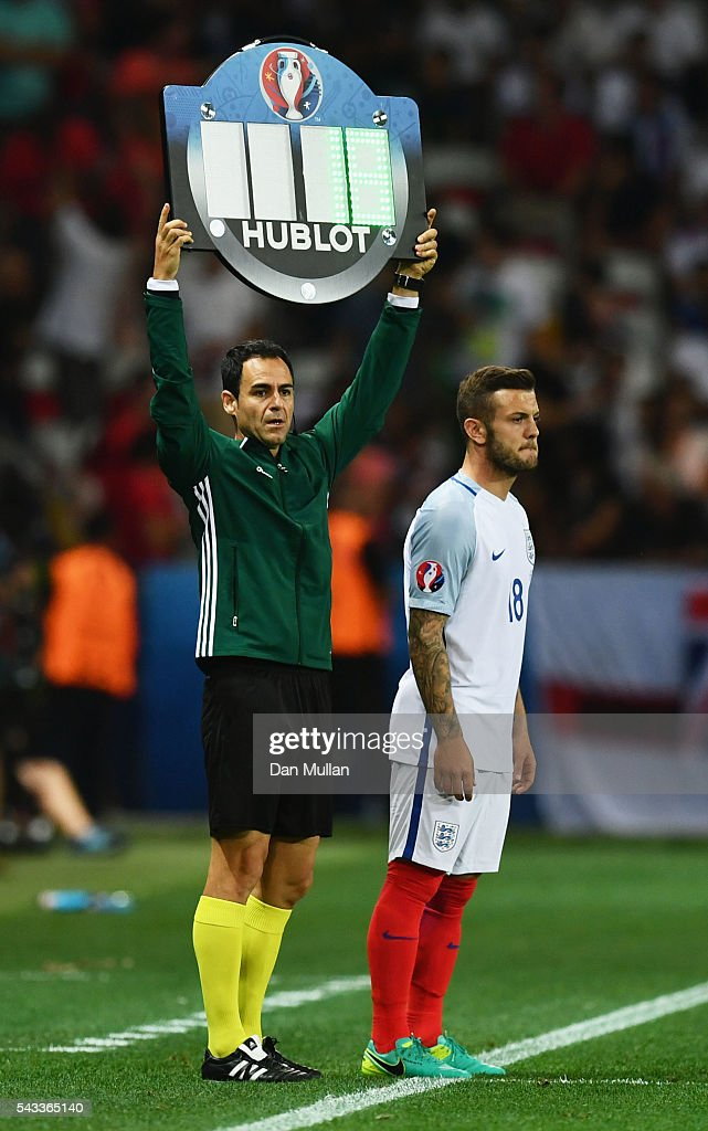 Jack Wilshire of England stands on the touchline during the UEFA EURO 2016 round of 16 match between England and Iceland at Allianz Riviera Stadium on June 27, 2016 in Nice, France.