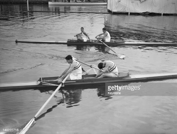 Jack Wilson and Ran Laurie of Great Britain after winning the coxless pairs event at HenleyonThames during the London Olympic Games 9th August 1948...