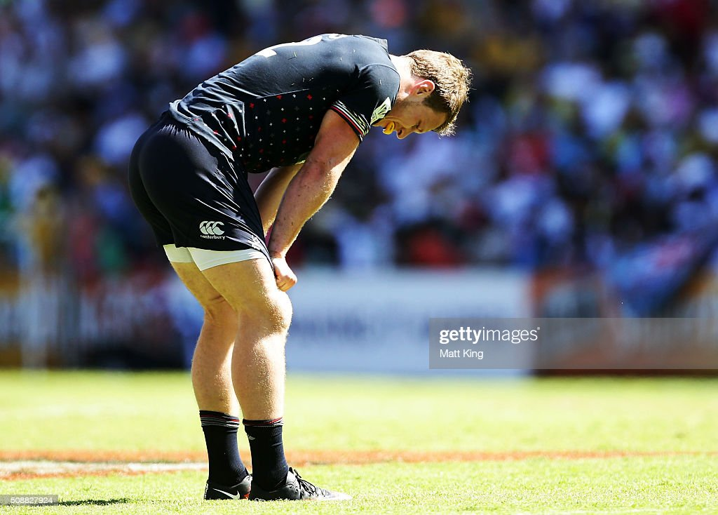 Jack Wilson of England looks dejected after their loss in the Plate Semi Final match between England and Argentina at Allianz Stadium on February 7, 2016 in Sydney, Australia.