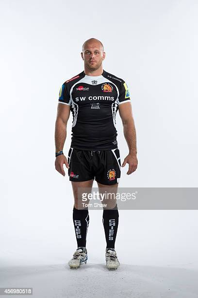 Jack Yeandle of Exeter Chiefs poses for a picture during the BT Photo Shoot at Sandy Park on August 26 2014 in Exeter England