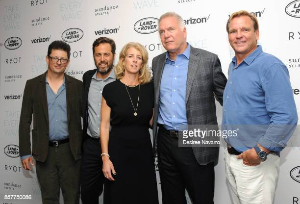 Jack Youngelson Mark Bailey Rory Kennedy Carl Bernstein and Paul Speaker attend 'Take Every Wave The Life Of Laird Hamilton' New York Premiere at The...
