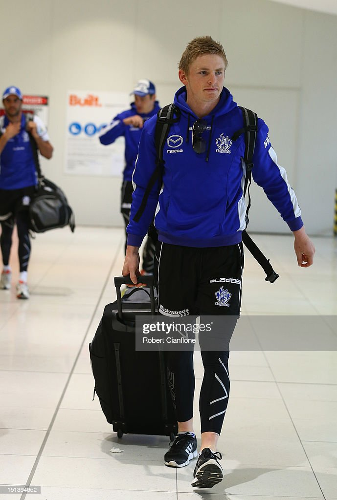 Jack Ziebell of the Kangaroos arrives at Melbourne Airport on September 7, 2012 in Melbourne, Australia.