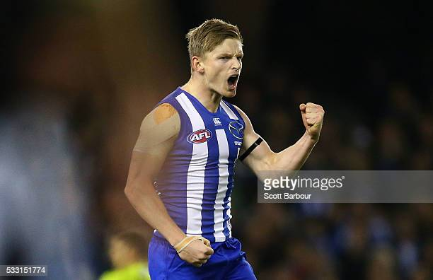 Jack Ziebell of the Kangaroos celebrates after kicking a goal during the round nine AFL match between the North Melbourne Kangaroos and the Carlton...