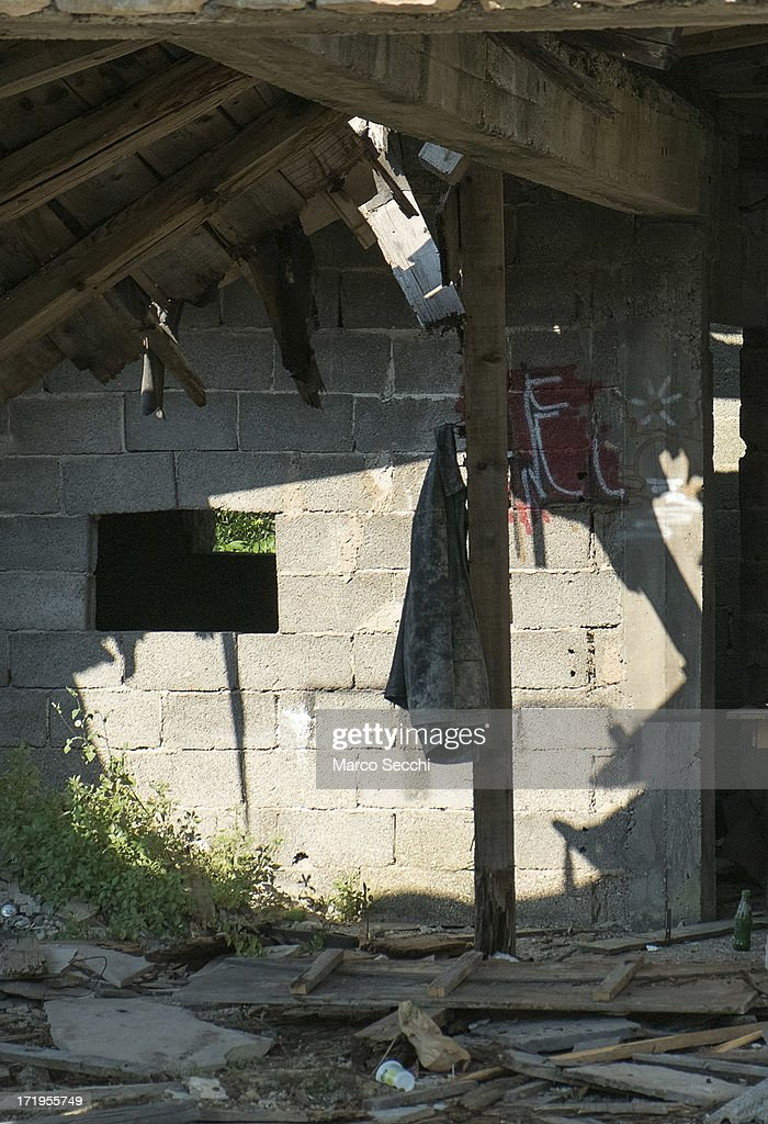 A jacket hangs inside a derelict house as the city of Mostar remembers the 1993 conflict on June 28 2013 in Mostar Bosnia and Herzegovina The Siege...