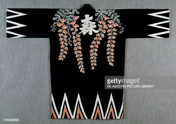 Jacket with association emblems MeijiTaisho period in cotton with lilac and zigzag patterns and woodforest writing a woman's name honorable and...