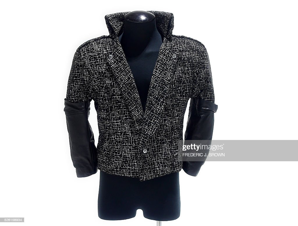 A jacket worn by Prince in the 1984 film 'Purple Rain' is displayed on April 29, 2016 in Calabasas, California, ahead of its auction on June 29, 2016 from California-based auction house Profiles in History. An iconic jacket worn by Prince in the 1984 film 'Purple Rain' will be auctioned in Los Angeles in June, auction house Profiles in History said. / AFP / FREDERIC