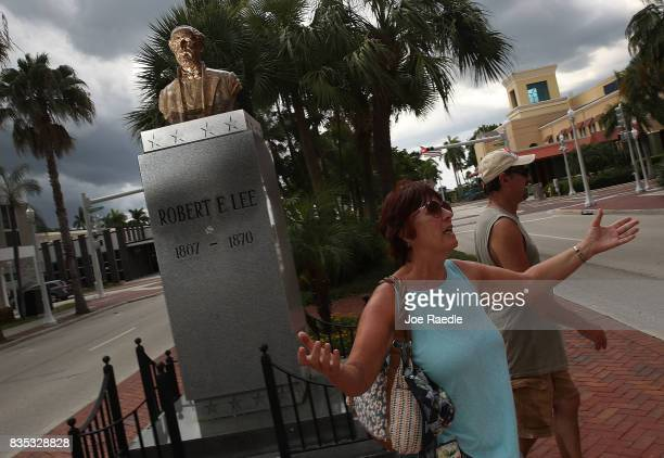 Jacki Lewan and Steve Lewan from Pittsburgh Pennsylvania walk away after looking at a bronze bust of Confederate general Robert E Lee on display in...