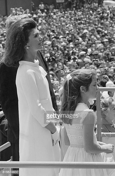 Jackie and Caroline Kennedy at the christening of the aircraft carrier USS John F Kennedy Caroline christened the ship