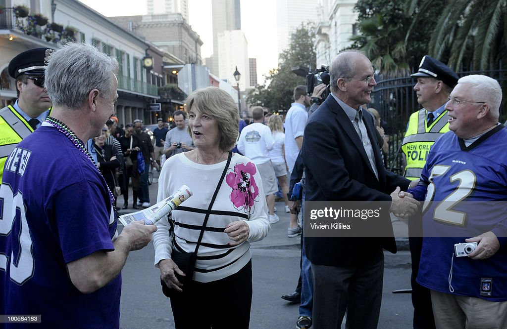 Jackie and Jack Harbaugh greet a fans at Starter Parlor - Super Bowl XLVII on February 2, 2013 in New Orleans, Louisiana.