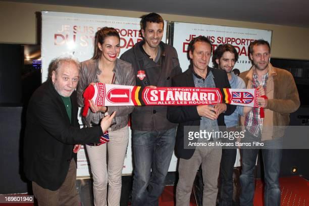 Jackie Berroyer Helena Noguerra Samir Guesmi Riton Liebman David Murgia and Fabio Zenoni attend the 'Je Suis Supporter Du Standard' Premiere at UGC...