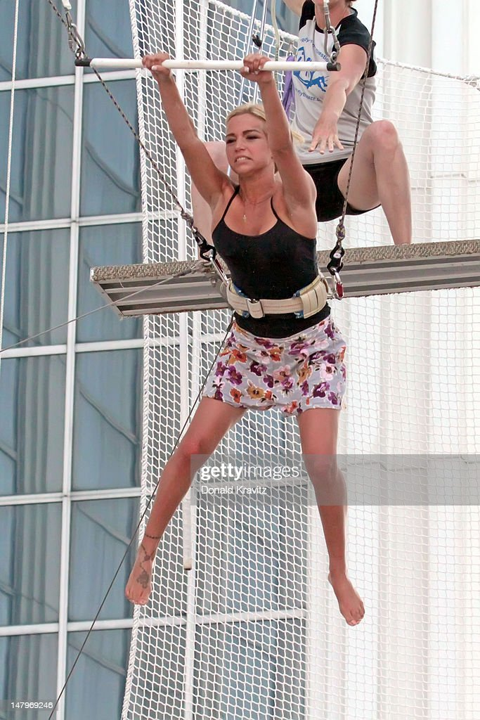 Jackie Bianchi performs on trapeze at Trump Taj Mahal on July 6, 2012 in Atlantic City, New Jersey.