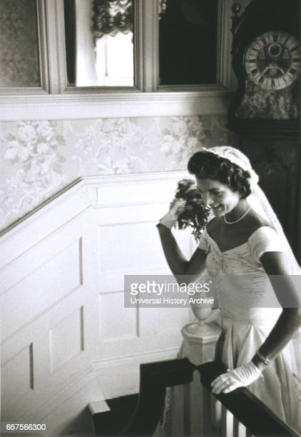 Jackie Bouvier Kennedy Throwing Bouquet Newport Rhode Island USA by Toni Frissell September 12 1953
