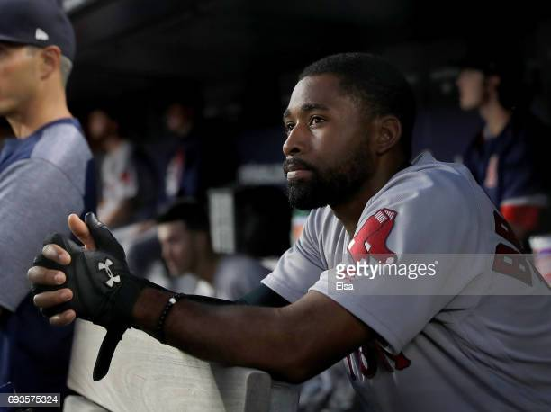 Jackie Bradley Jr #19 of the Boston Red Sox looks on from the dugout in the ffith inning against the New York Yankees on June 7 2017 at Yankee...