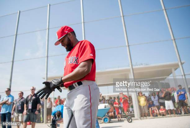 Jackie Bradley Jr #19 of the Boston Red Sox puts his batting gloves on before taking batting practice on February 18 2017 at jetBlue Park in Fort...