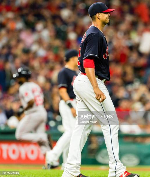 Jackie Bradley Jr #19 of the Boston Red Sox rounds the bases after hitting a solo home run off starting pitcher Carlos Carrasco of the Cleveland...