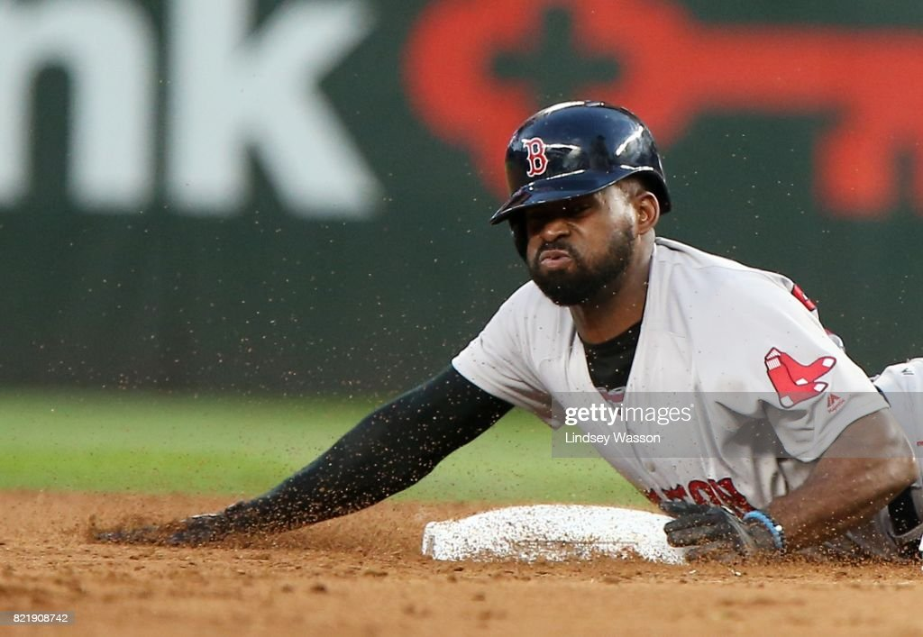 Jackie Bradley Jr. #19 of the Boston Red Sox safely steals second base in the fifth inning after a wild pitch by James Paxton #65 of the Seattle Mariners at Safeco Field on July 24, 2017 in Seattle, Washington.