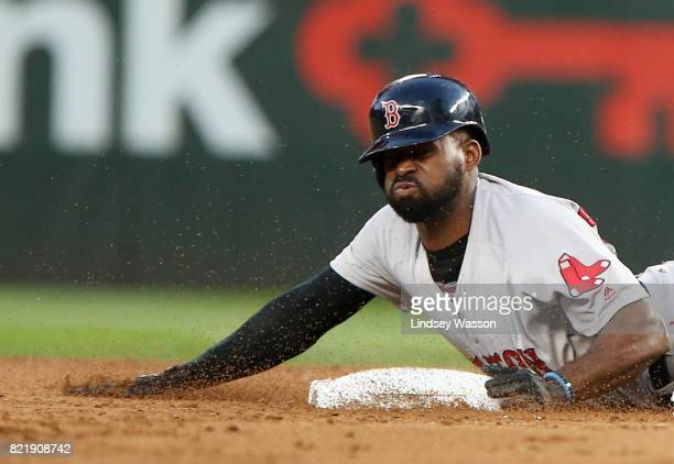 Jackie Bradley Jr #19 of the Boston Red Sox safely steals second base in the fifth inning after a wild pitch by James Paxton of the Seattle Mariners...